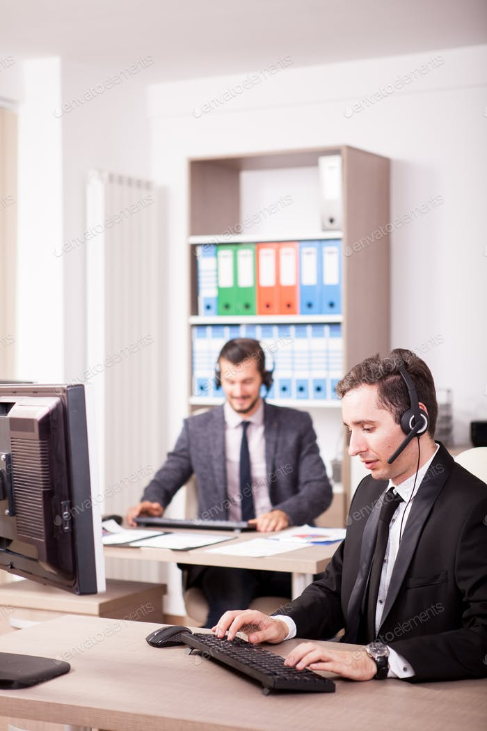 Customer service support working in the office