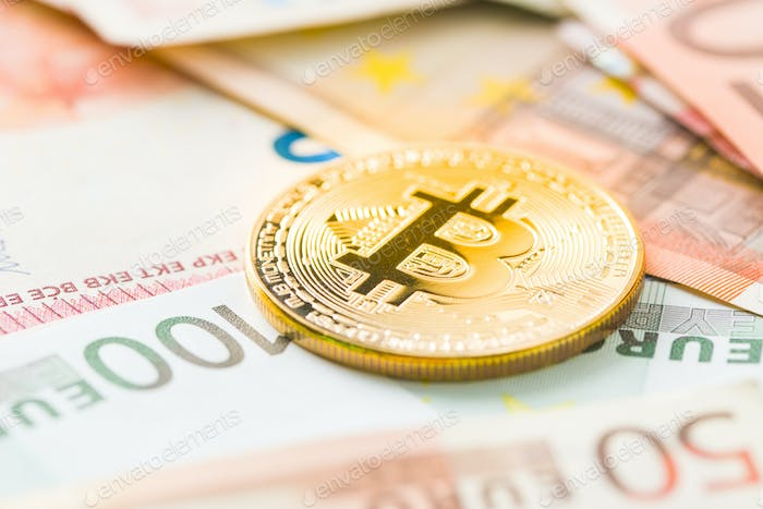 The golden bitcoin and euro currency.