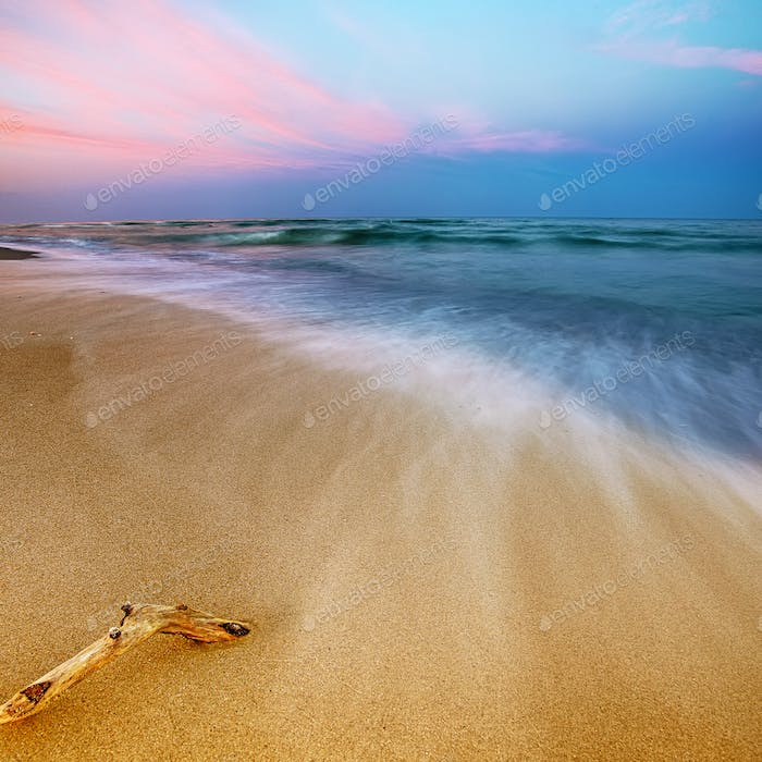 Magnificent long exposure sea sunset