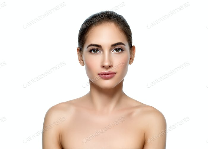 Beautiful young woman natural make up classic beauty portrait