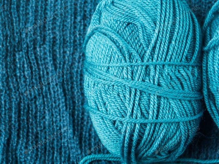 Blue cotton and wool knitting yarn