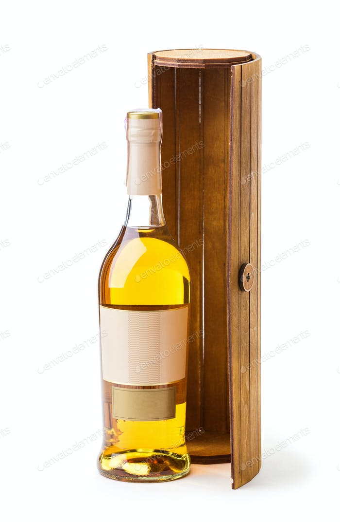 Bottle of white wine and wooden box
