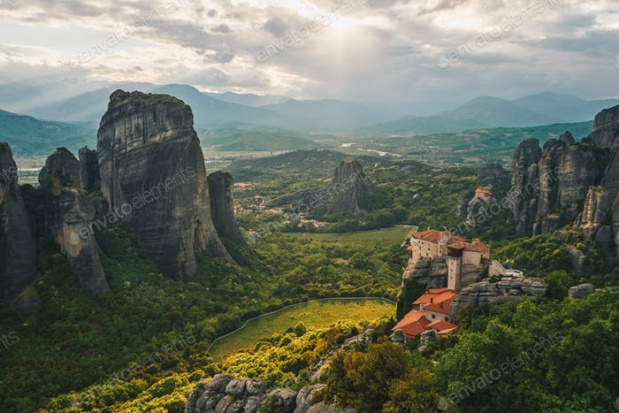 Meteora, Greece. The Holly Monastery of Rousanou on background.