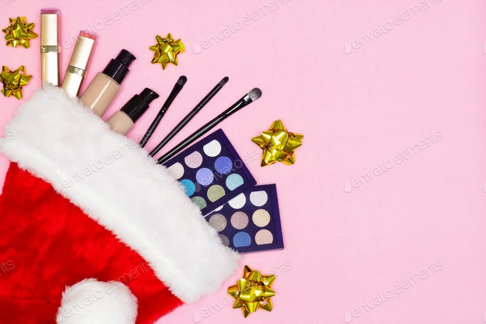 Make-up cosmetics as Christmas and New Year gift, copy space