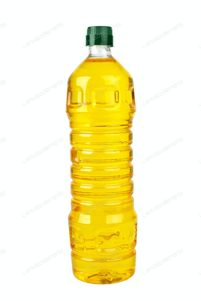 Plastic bottle with sunflower (corn or olive) oil