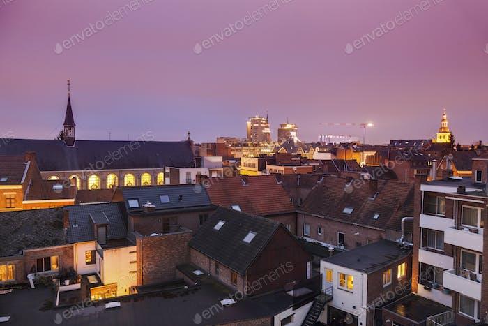 Panorama of Hasselt at night