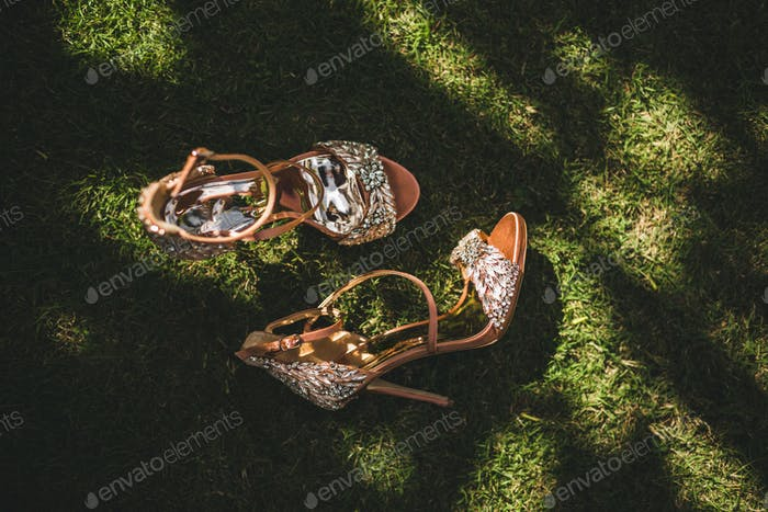 Shiny, glamorous, fashionable women high heel shoes decorated with precious jewelry stones