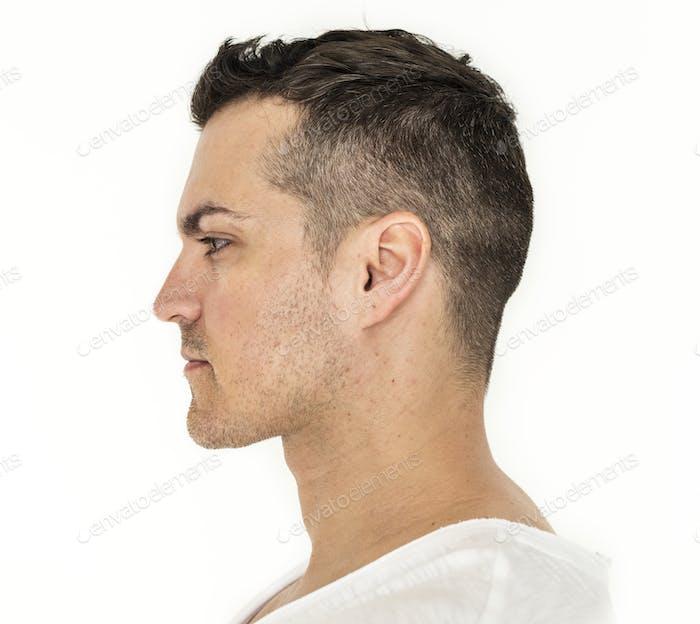 Side portrait of white man