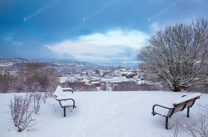 Winter view of snowy Trondheim city Norway from Leira