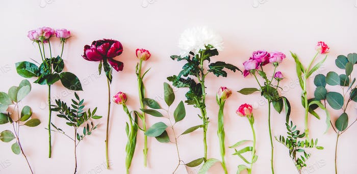 Flat-lay of purple peonies, pink roses, tulips, chrisanthemums, copy space