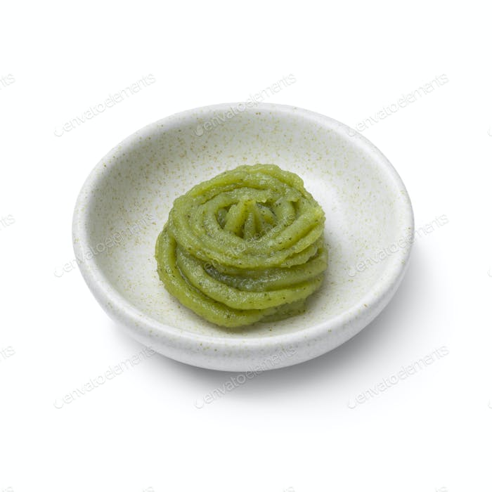 Bowl with traditional Japanese horseradish paste