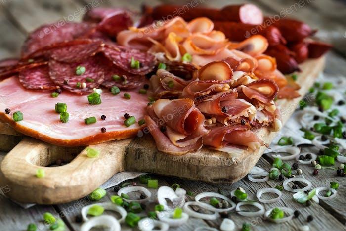 Ham, salami and sausages mix