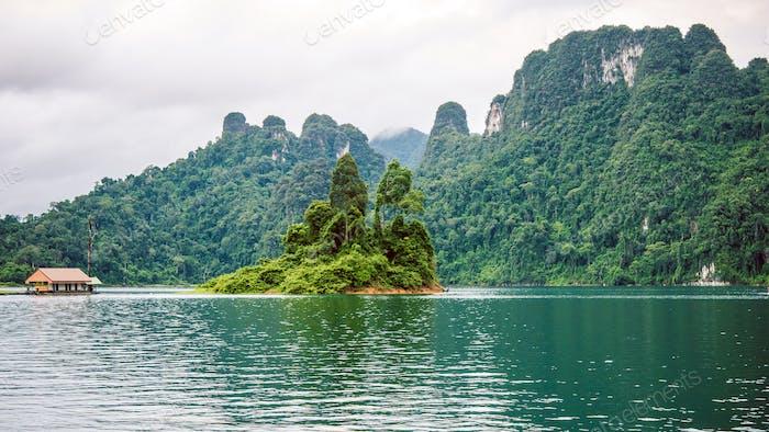 Cheo Lan Lake in Khao Sok, Suratani, Thailand.Rainy Clouds