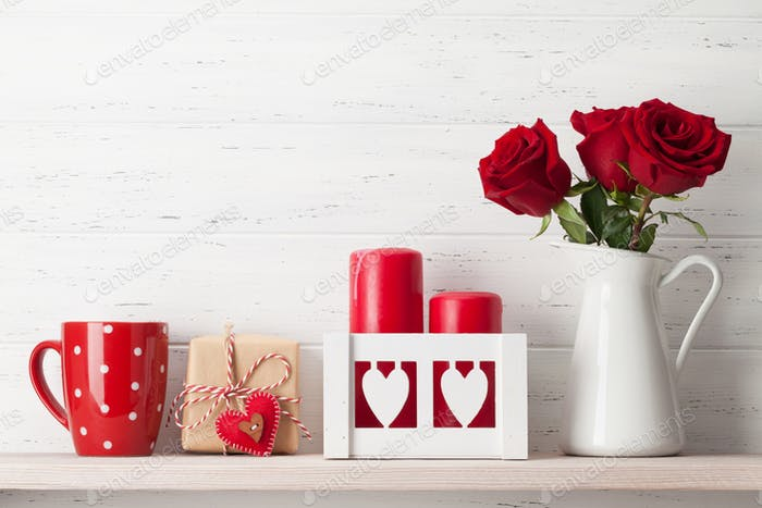 Valentines day card with rose flower bouquet