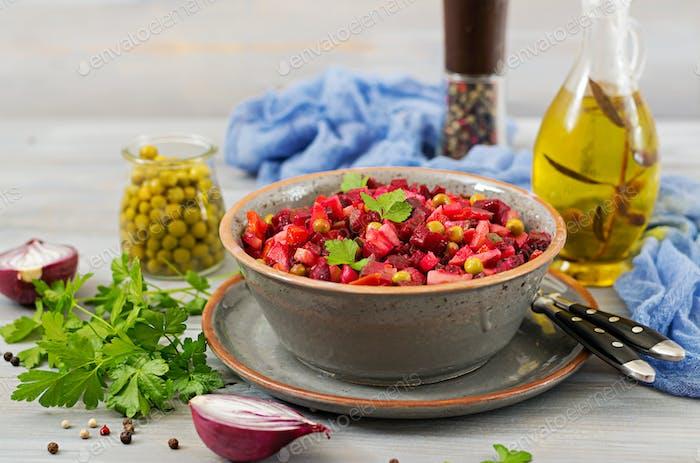 Beet Salad - Vinaigrette. Vegan cuisine. Dietary menu.