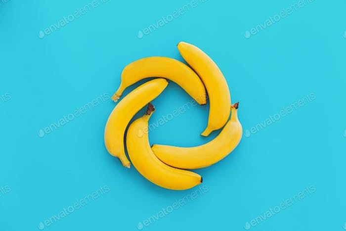 Yellow bananas on blue paper  trendy background