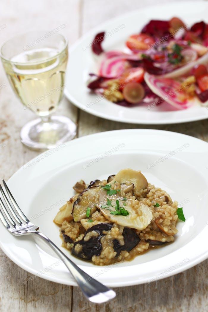 fresh porcini mushroom risotto and radicchio rosso salad
