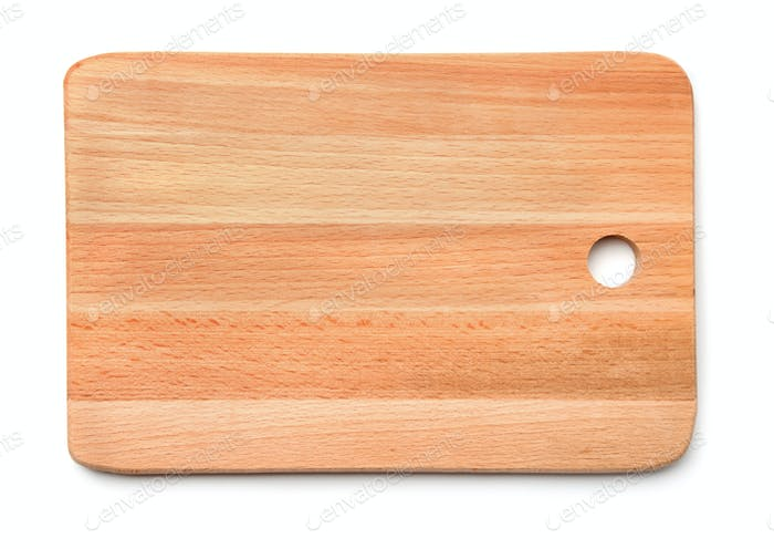 Top view of new wooden cutting board