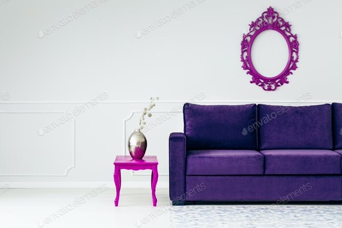 White and violet living room