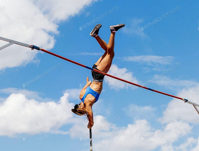 woman athlete pole vaulter in pole vault