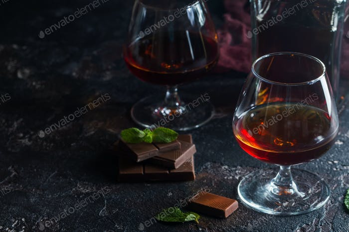 Two glasses of brandy or cognac