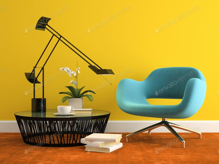 Part of interior with  modern blue armchair 3d rendering