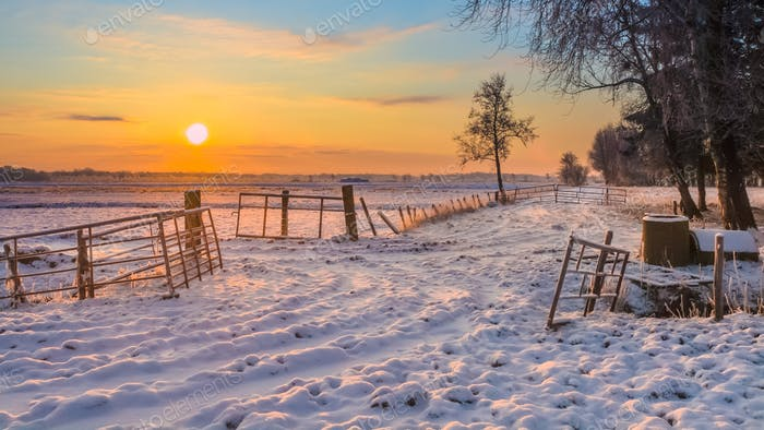 Rising sun over Winter Landscape
