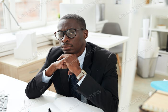 African white collar worker at office