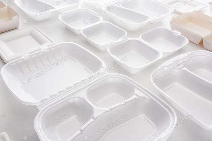 Empty Eco Packages For Lunch on White Background