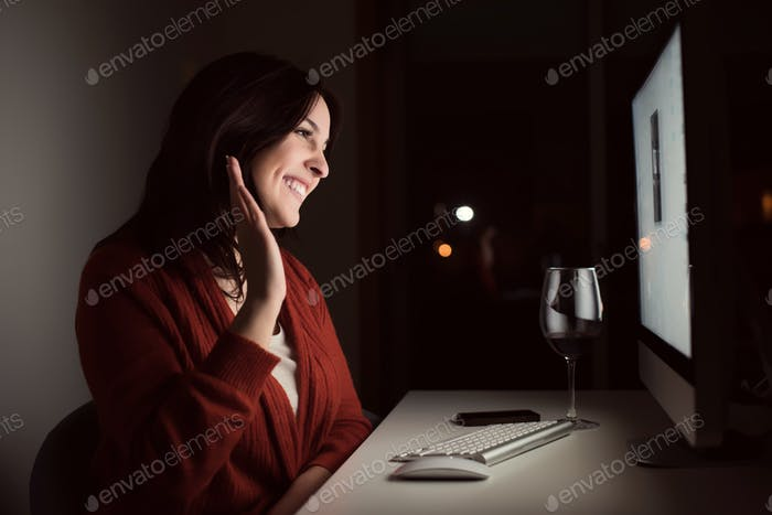 Woman in video call