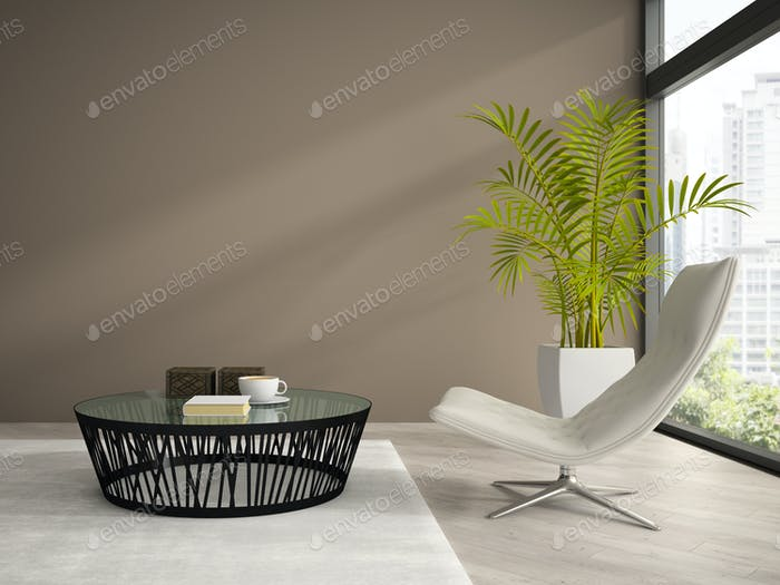 Part of  interior with white armchair 3D rendering