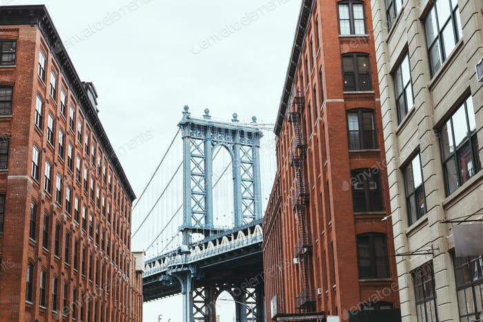 urban scene with buildings and brooklyn bridge in new york city, usa