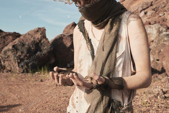 Refugee roaming in the desert