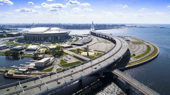Aerial view of the stadium Zenit Arena