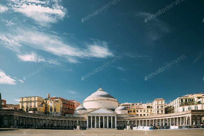 Naples, Italy. Famous Royal Basilica of San Francesco di Paola in the Piazza del Plebiscito.