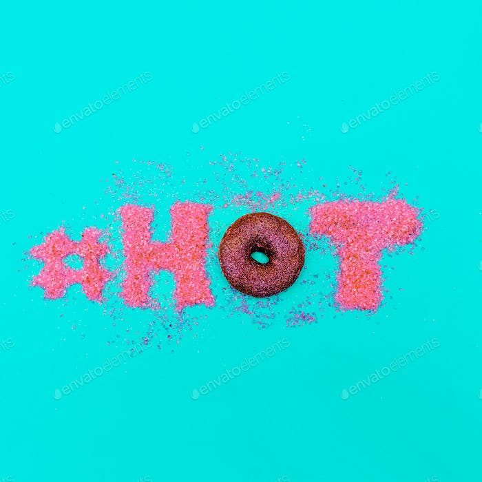 Donut hashtag Glamour Glitter Text Minimal Art fashion