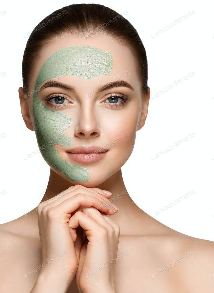 Woman spa mask black half-face beauty concept.