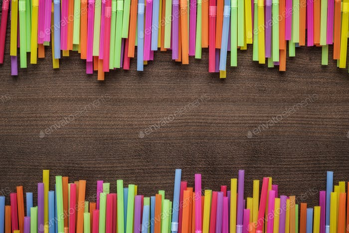 colorful striped bendy cocktail straws