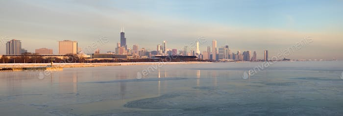 Panorama of Chicago at sunrise