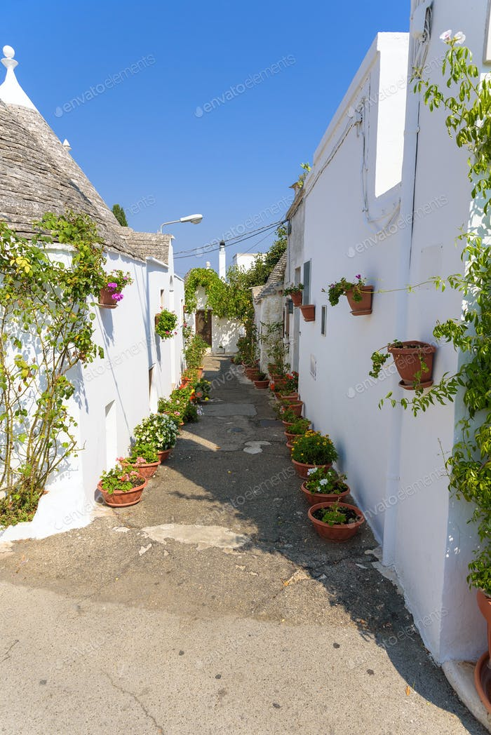 Narrow street in Alberobello town