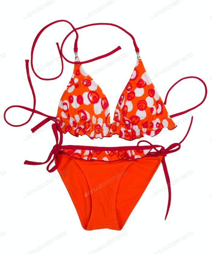 Bright orange swimsuit