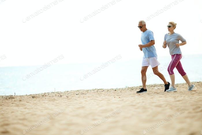 Jogging along coastline