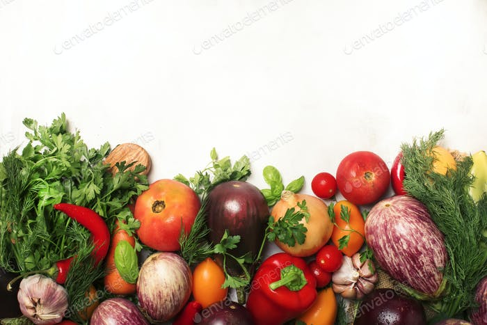 Healthy clean eating layout, vegetarian food and diet