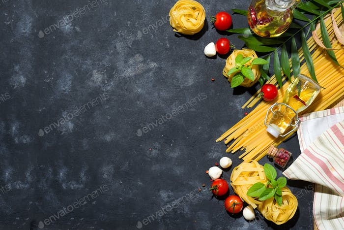 Italian food and ingredients background with fresh vegetables, tomatos, olive oil,