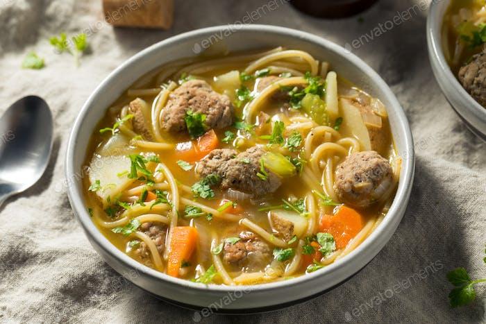 Homemade Sopa a La Minuta Meatball Soup