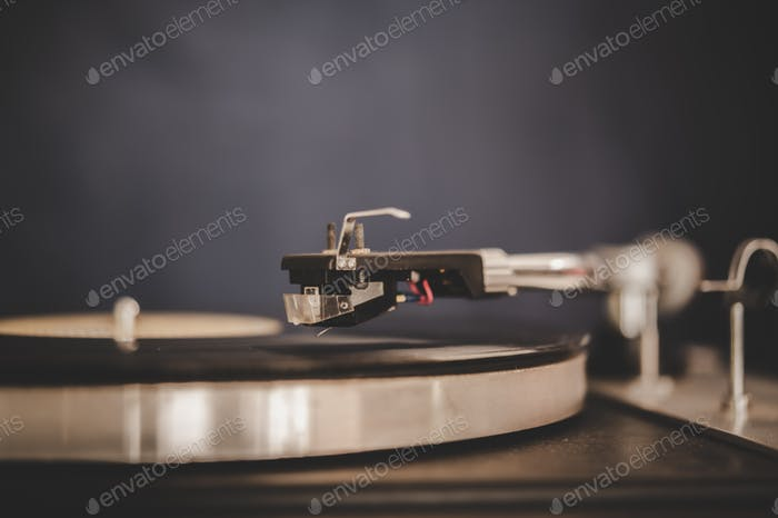 Spinning Record Player With Vintage Vinyl, Turntable Player And Vinyl Record.