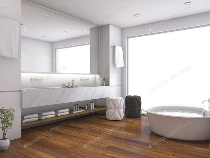 3d rendering contemporary wood bathroom near window