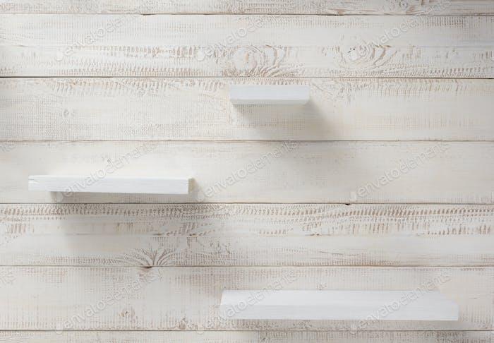 set of wooden shelves