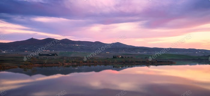 Tuscany, Santa Luce lake panorama on sunset, Pisa, Italy