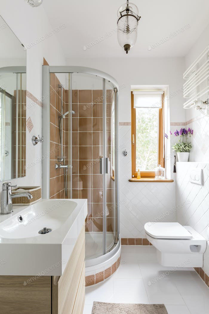 Functional bathroom with toilet and shower